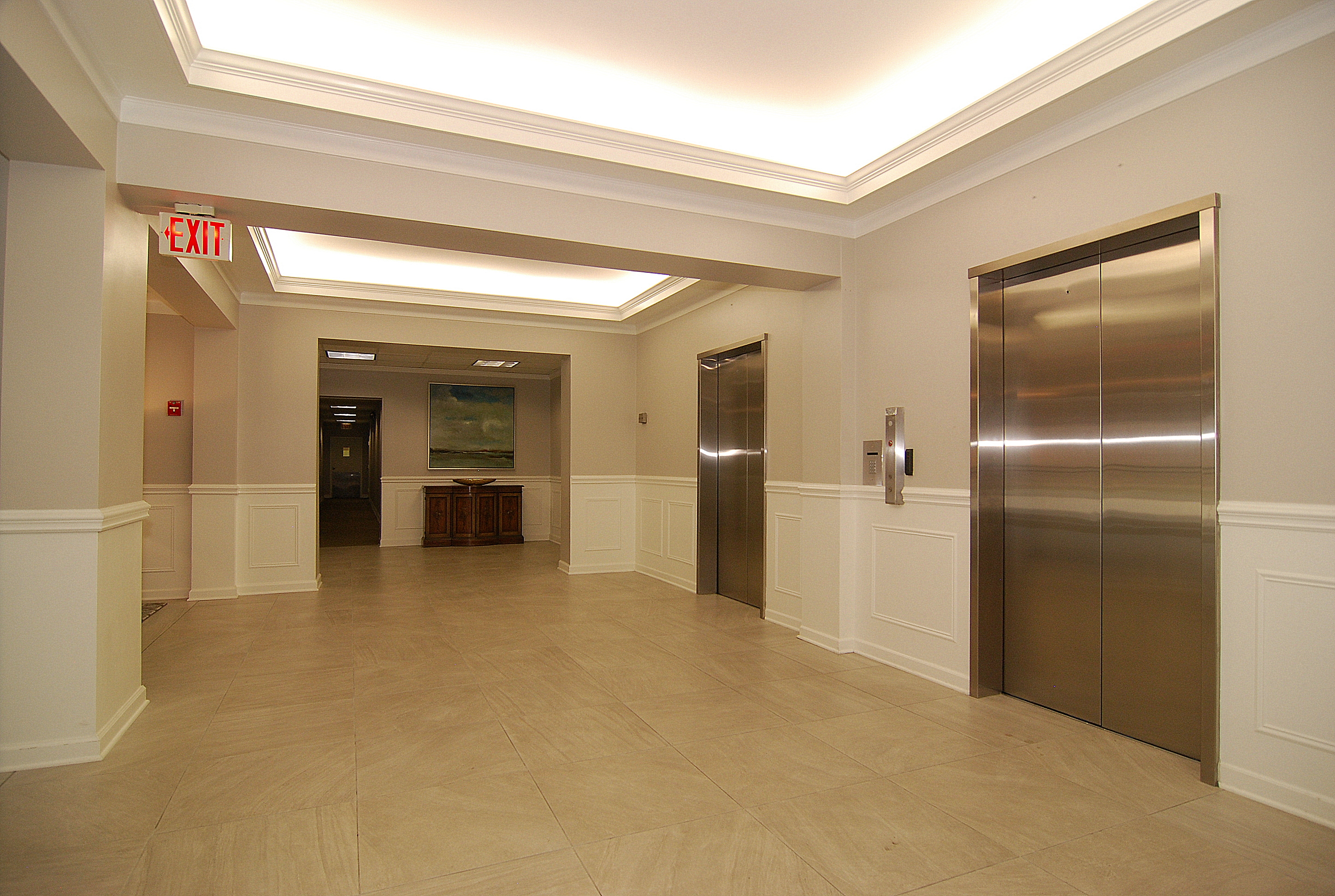 Middleborough Offices - Elevator Lobby and hallway leading to Offices on 1st Floor and Commercial Kitchen